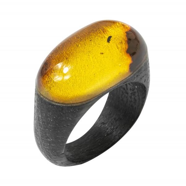 Bague Ambre jaune et bois précieux