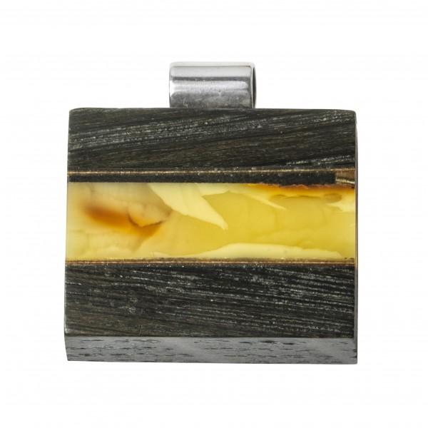 Pendentif bois précieux et ambre royal sur argent massif