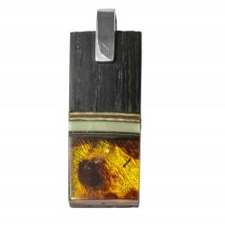 Pendentif en bois précieux avec ambre miel et blanc