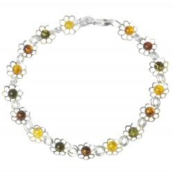 Bracelet ambre multicolore et fleur en argent 925/1000