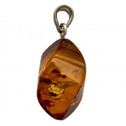 Grosse pendentif femme en Ambre Baltique couleur cognac