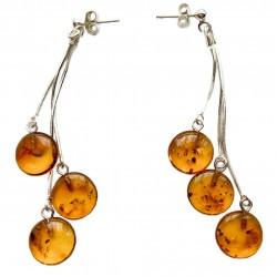 Boucle d'oreille avec perle d'ambre cognac forme bouton