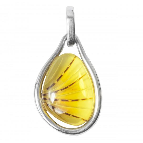 Pendentif Ambre jaune Gravé et Argent 925/1000