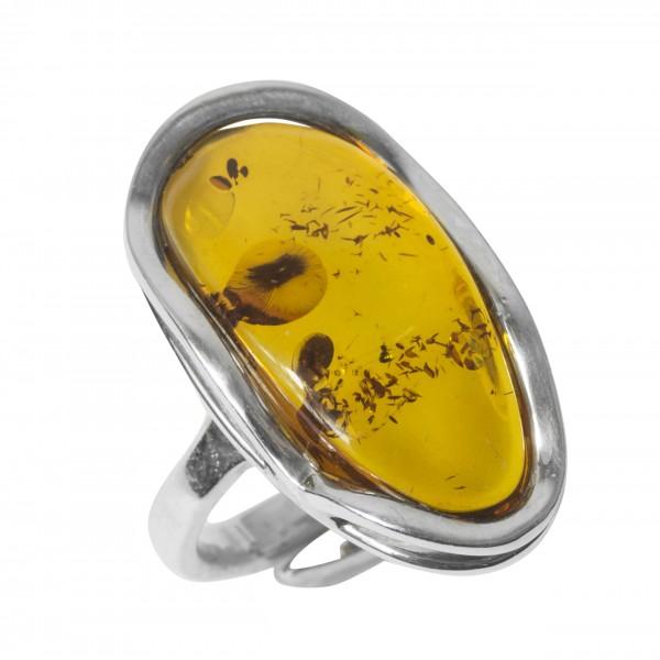 Grosse Bague Ambre jaune et Argent
