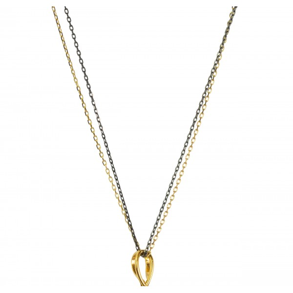 Silver gold plated and black double chain