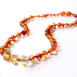 Amber baby cognac and yellow necklace