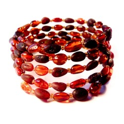 Amber bracelet cognac polished and rough 5 laps