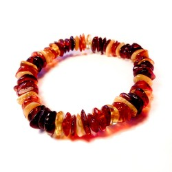 Multicolored white amber bracelet, cognac and honey