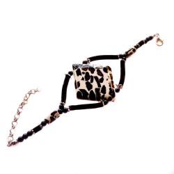 Diamond-shaped mozaic amber bracelet