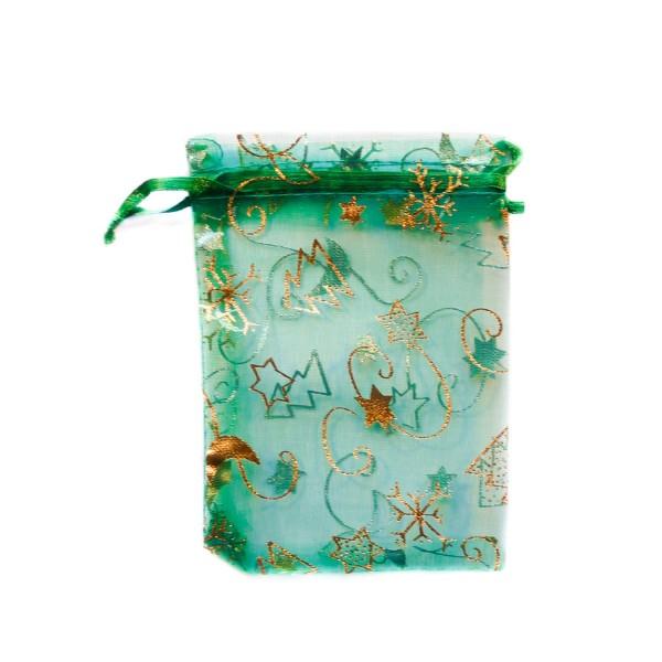 Sachet organza vert décoration noël