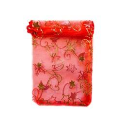 Organza Bolsa de decoración de la Navidad roja