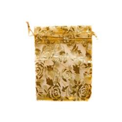 Organzabeutel rosa Golddekoration