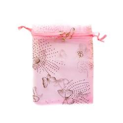 Organza Bolsa de decoración de mariposa de color rosa