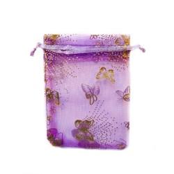 Organza Beutel lila Schmetterling Dekoration