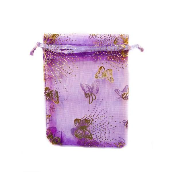 Sachet organza violet décoration papillon