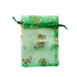 Green organza bag with butterfly decoration
