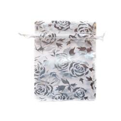 Organza Bolsa de decoración blanca y rosa