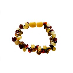 Multicolored baby amber bracelet 3 lines