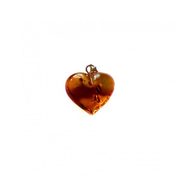 Coeur Ambre miel et Argent