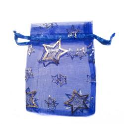 Organza Beutel blau-Sterne-Dekoration