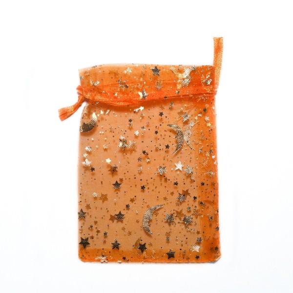 Sachet organza orange décoration ciel étoilé