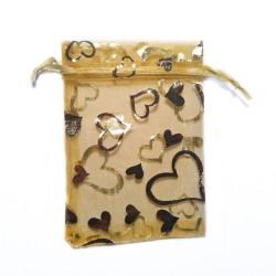 decoración de organza Bolsa de oro del corazón
