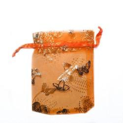 Organza Bolsa de decoración de mariposa de color naranja