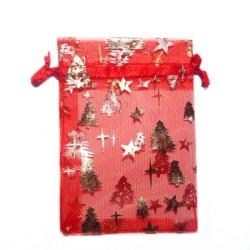 纱袋红色圣诞树装饰着明星