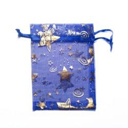 Sachet organza bleu décoration étoile et lune