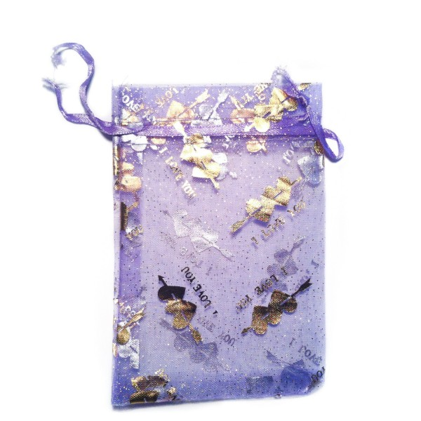"Sachet organza violet décoration ""I Love You"""