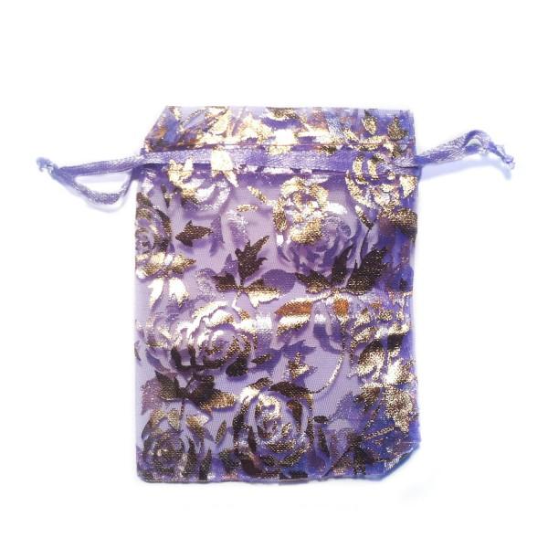 Sachet organza violet décoration rose