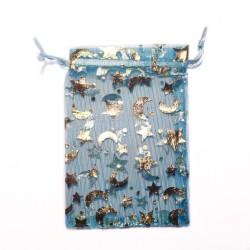 Bag blau Organza blau Mond und Sterne Dekoration