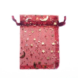 Burgundy organza bag with starry sky decoration