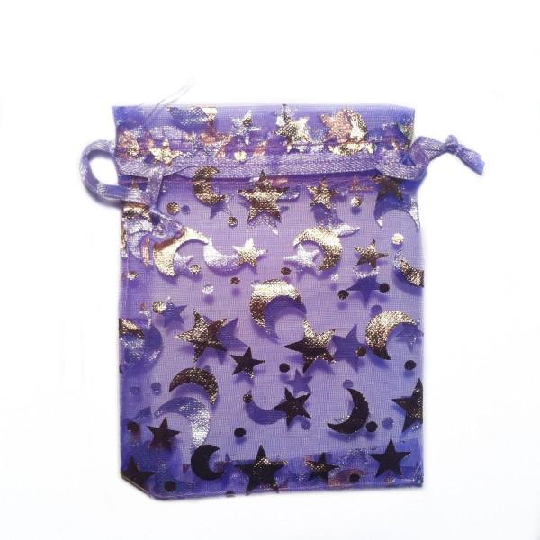 Sachet organza violet décoration étoile et lune
