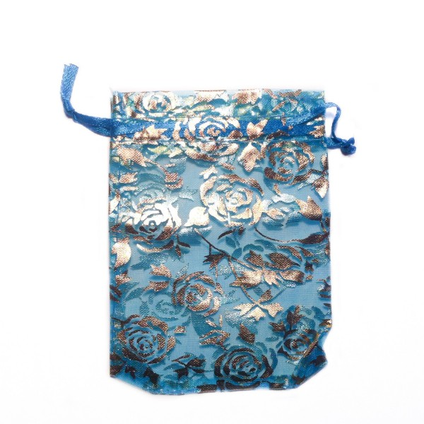 Sachet organza bleu azur décoration rose