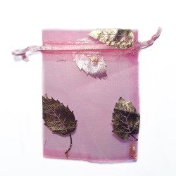 Pink organza bag with tree leaf decoration