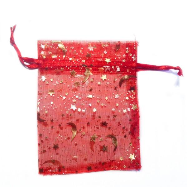 Sachet organza rouge décoration ciel étoilé