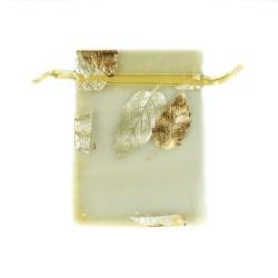 Gold Organzabeutel verziert Baumblatt