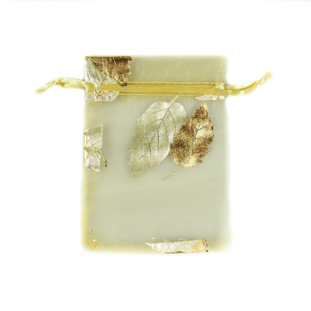 Sachet organza or d coration feuille d 39 arbre bijoux d 39 ambre - Feuille d or decoration ...