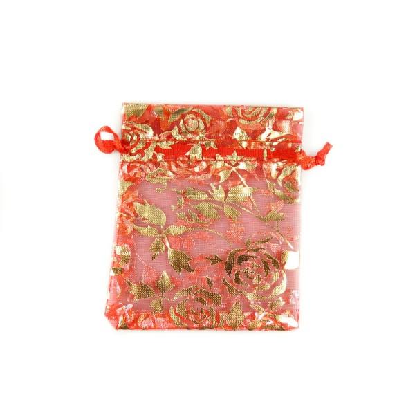 Sachet organza rouge décoration rose