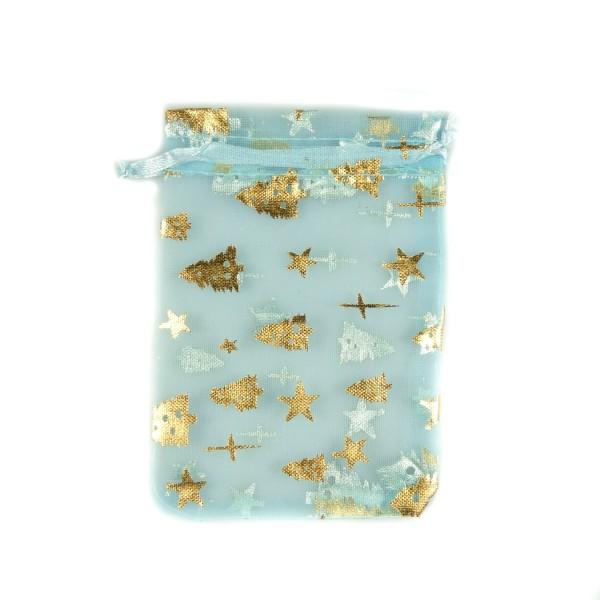 Sachet organza bleu azur décoration étoile et sapin