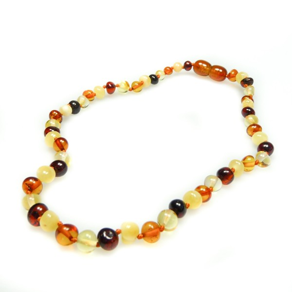 Collier ambre bébé perle ronde multicolore