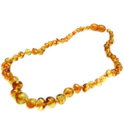Baby honey amber necklace, round pearl