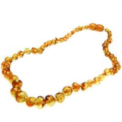 collar de ámbar del bebé de color miel, perla redonda