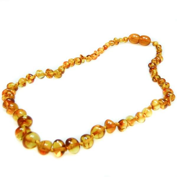 Collier d'ambre bébé couleur miel, perle ronde