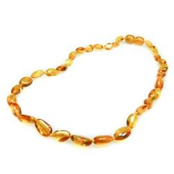 Collier d'ambre pour bébé, perle olive couleur miel