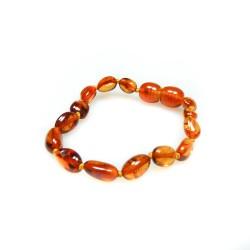 Bracelet ambre bébé perle olive cognac