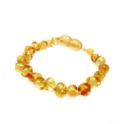 Bracelet ambre bébé perle ronde citron