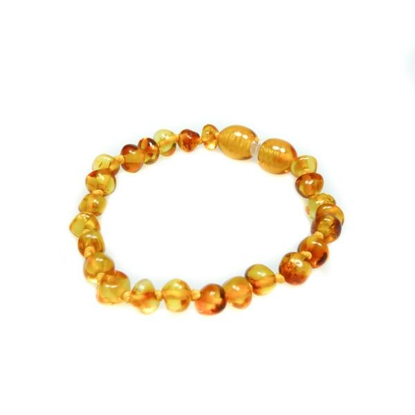 Bracelet ambre bébé perle ronde miel