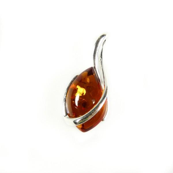 Pendentif en ambre cognac et argent 925/1000